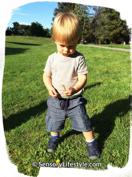 Exploring outdoors: Josh playing with Dandelion.