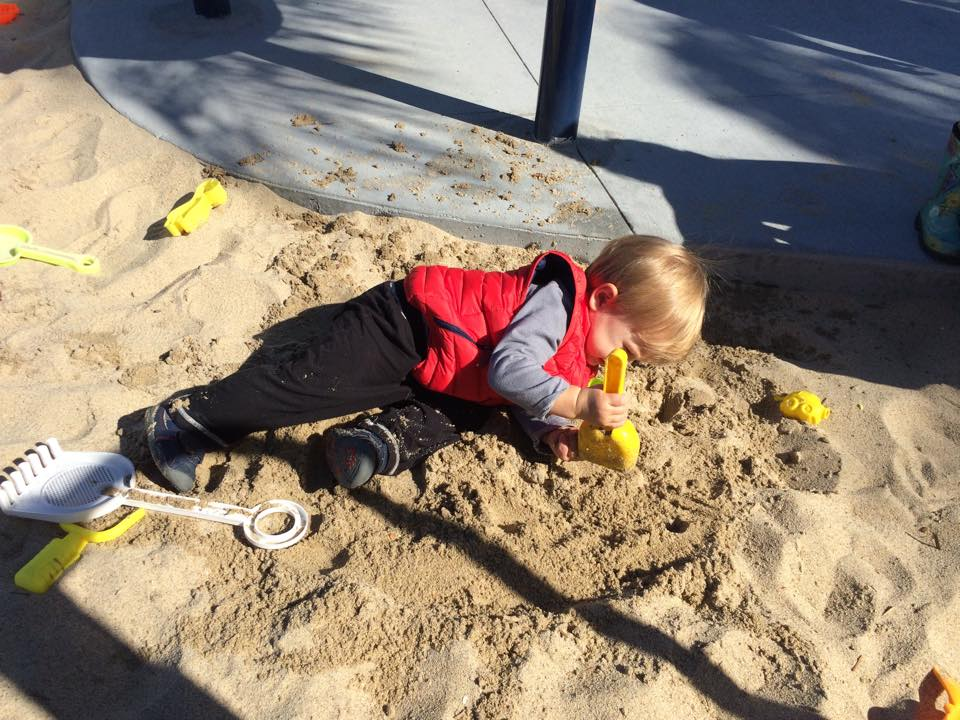 Josh playing in the sand