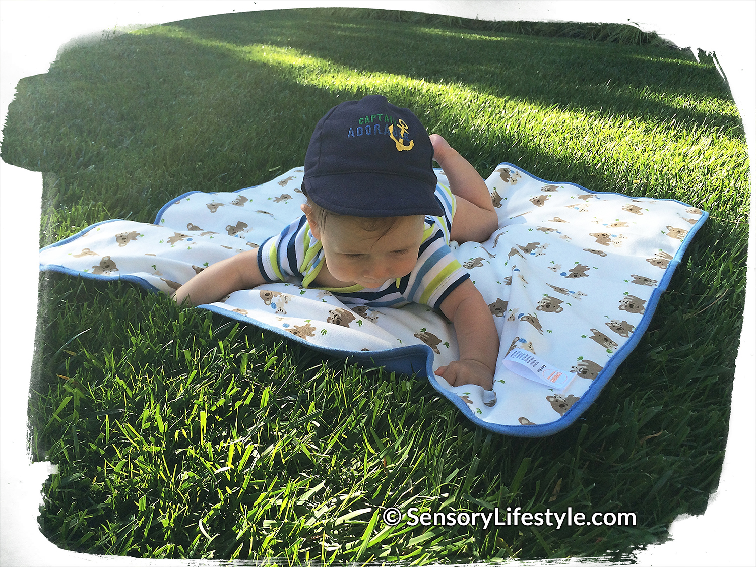 Tactile tummy time on a blanket