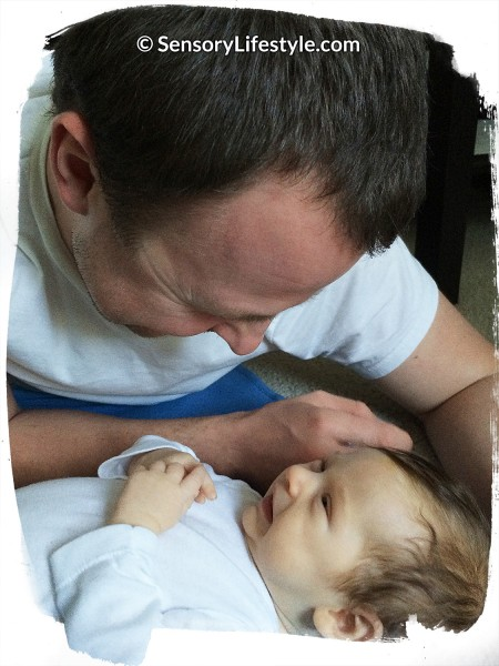 Activities for newborn: Daddy talking with Josh