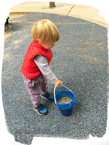 14 month toddler activities: Carrying heavy bucket