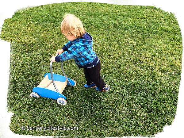 14 month toddler activities: Pushing cart
