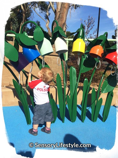 Magical Bridge Playground - Tot Zone, Josh playing musical bells