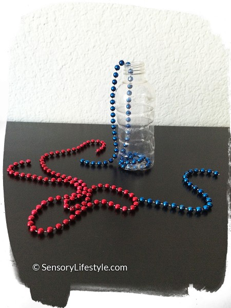 Travel activities for toddler: Beads in a bottle