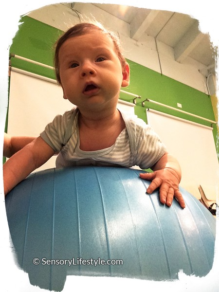 3 month baby activities: Josh on a ball