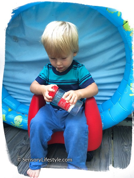 16 month toddler activity: Opening Container