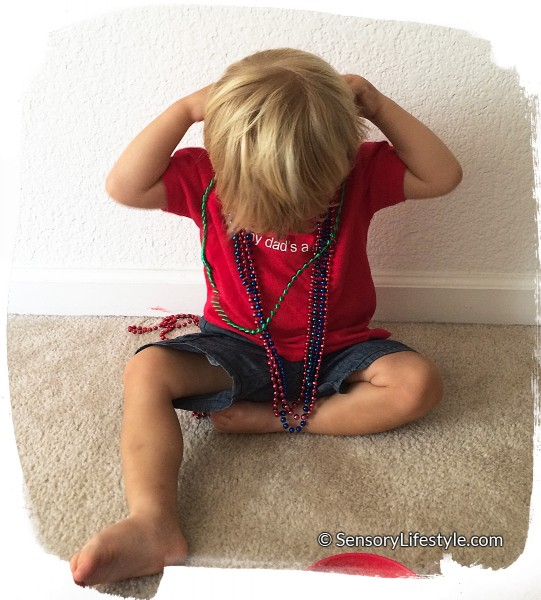 17 month old toddler activities: Beads as necklaces