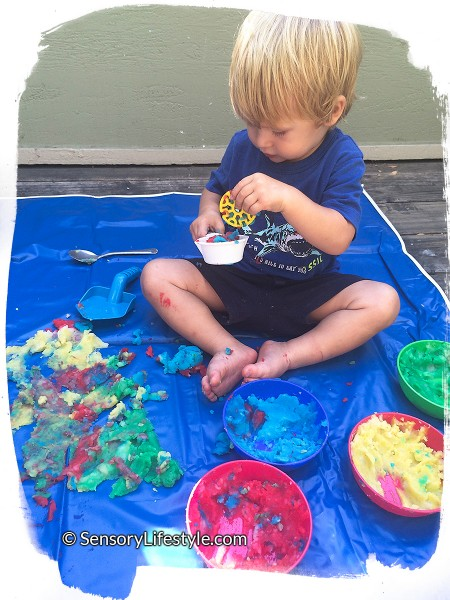 17 month old toddler activities: Mashed potatoes fun