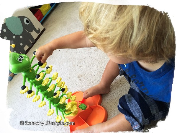 18 month old toddler activities: Dancing caterpillar with blueberries