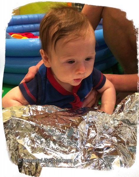 4 month old baby activates: Josh with aluminium blanket