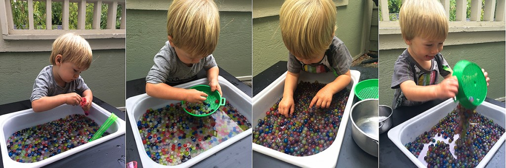 19 month old toddler activities: Josh with water beads