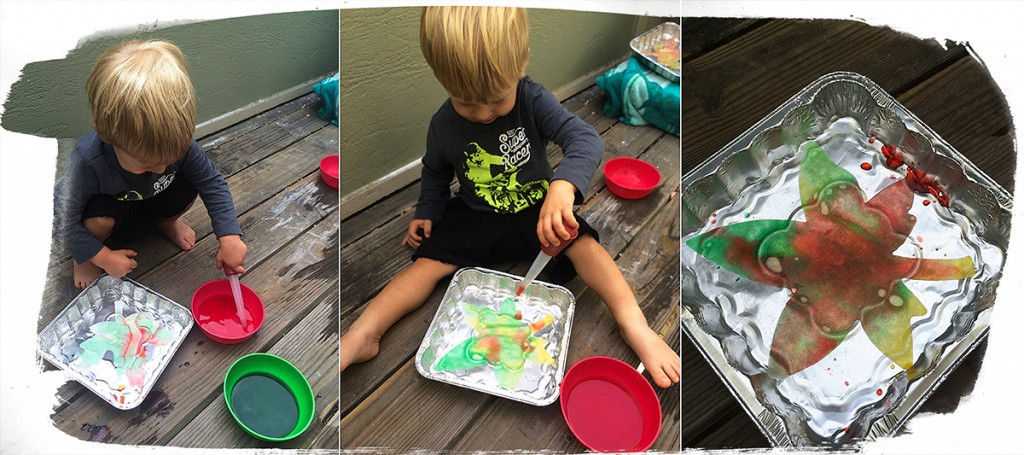 19 month old toddler activities: Painting with baster
