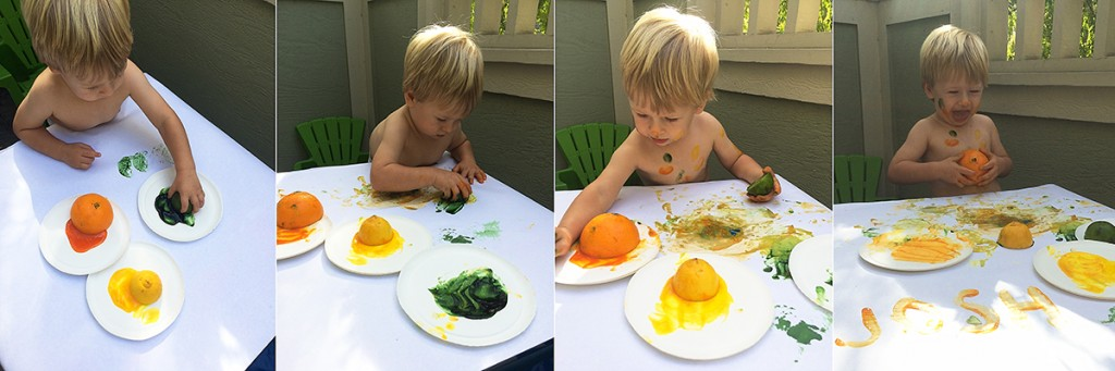 19 month old toddler activities: Painting with fruit