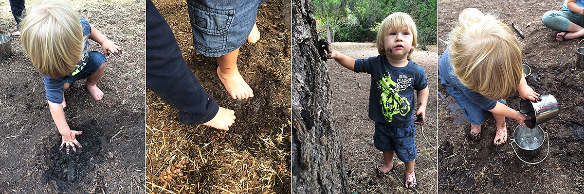 19 month old toddler activities: Playing in the mud