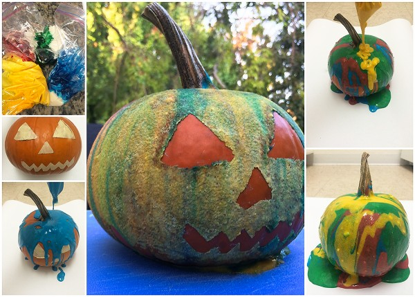 Halloween activities: Drip paint pumpkin