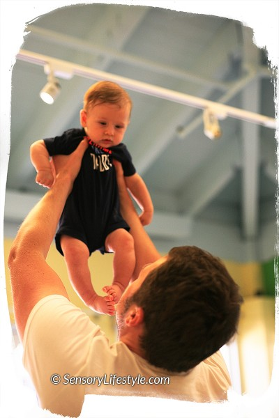 5 month old baby activities: Flying high with daddy