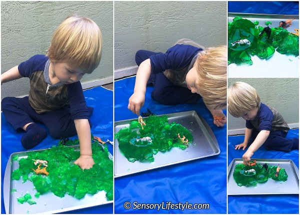 21 month toddler activities: Jello & animals