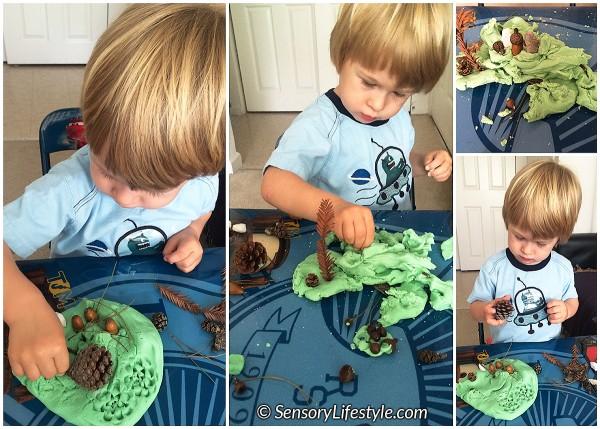 21 month toddler activities: Play dough nature
