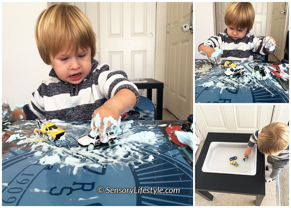 20 month toddler activities: Shaving cream & cars