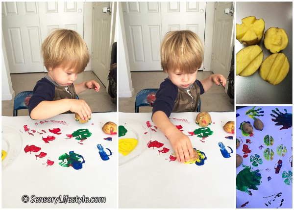 20 month toddler activities: potato stamping