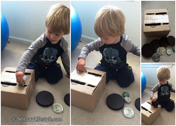 20 month toddler activities: sorting lids