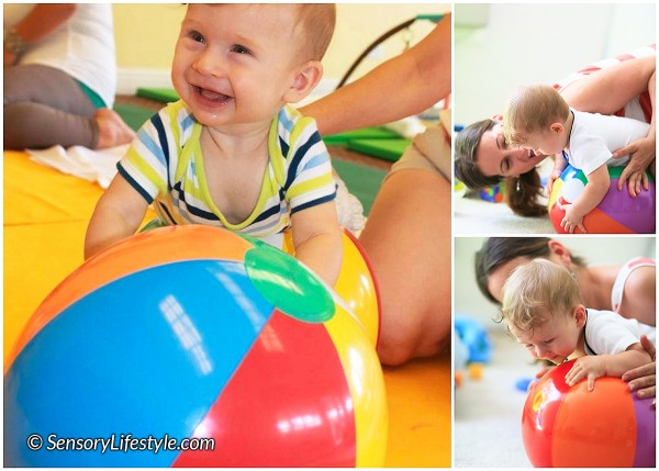 7 month baby activity: Balance ball