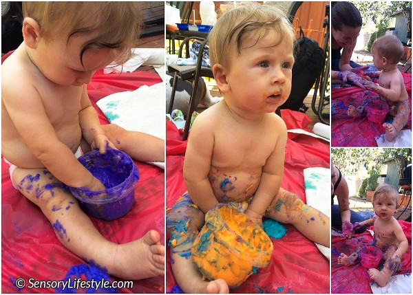 7 month baby activity: Messy paint