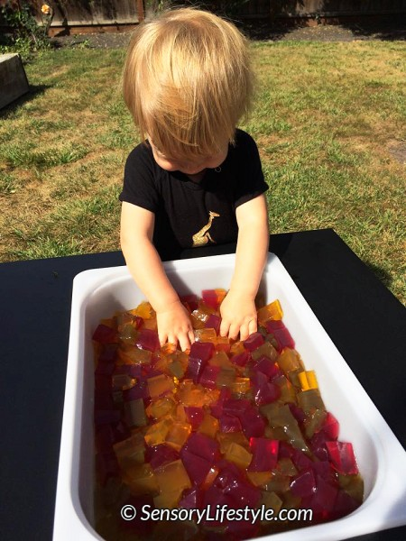 12 month old baby activities: Gelatin play at 12 month