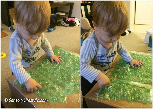 13 month toddler activities: Bubble wrap