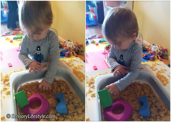 13 month toddler activities: Cornflakes