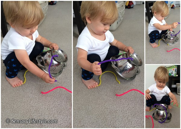 13 month toddler activities: Pipe cleaner & colander