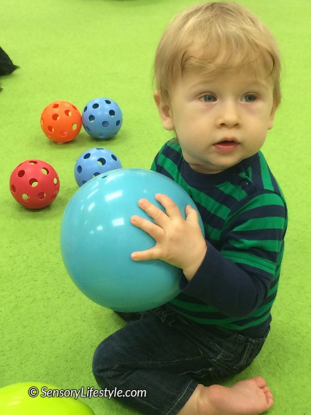 13 month toddler activities: Playing with balls