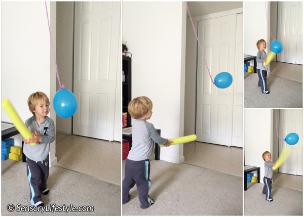 22 month toddler activities: Suspended balloon play