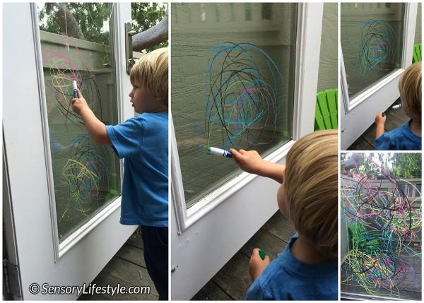 22 month toddler activities: Window art