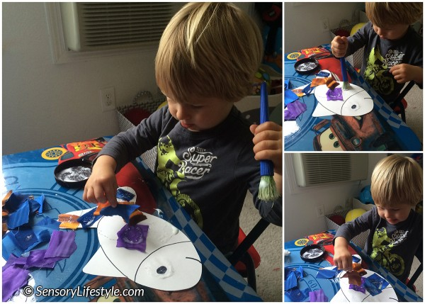 22 month toddler activities: Tactile fish