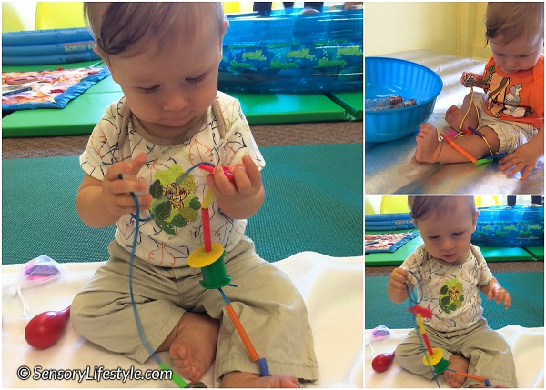 8 month baby activities: Chewy necklace