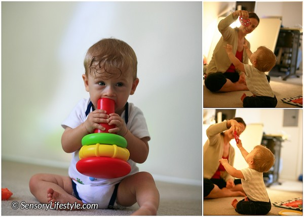 8 month baby activities: Grasping games