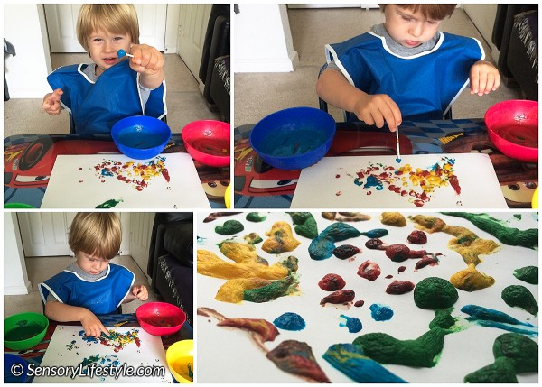 23 month toddler activities: puff paint