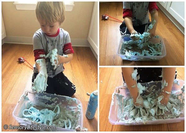 24 month toddler activities: Sand and shaving cream