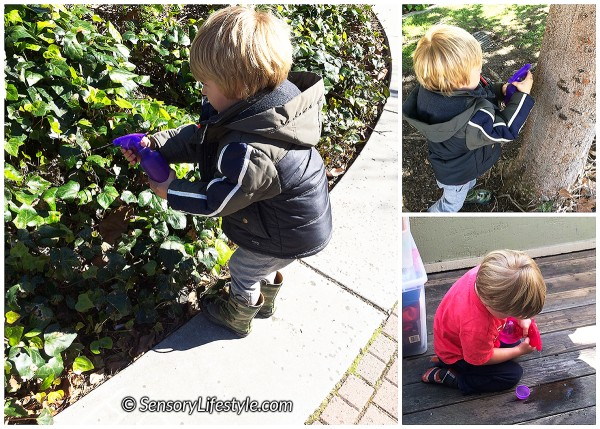 24 month toddler activities: Spray bottle