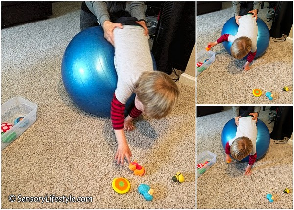 24 month toddler activities: Therapy ball fun