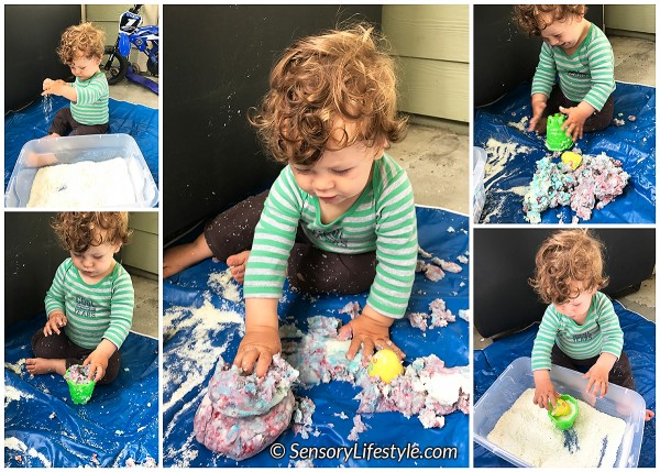 11 month baby activities: potato flakes