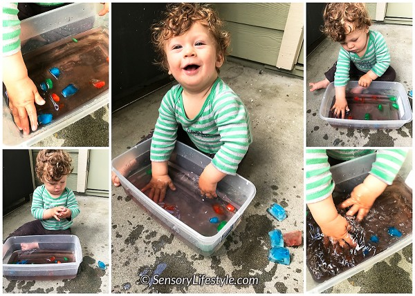 11 month baby activities: ice play
