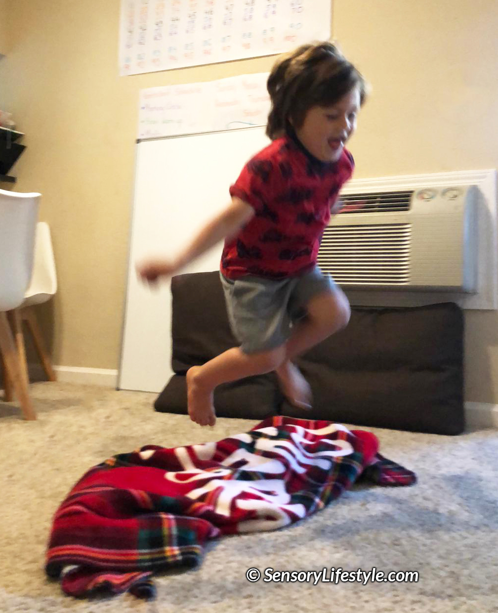 Activities for kids at home: jumping puddles