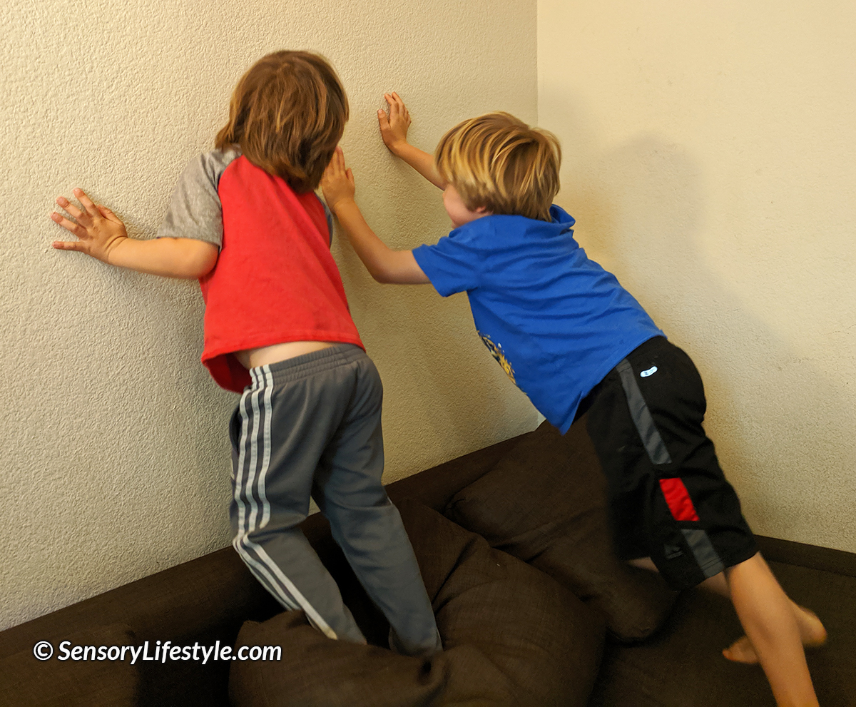 Activities for kids at home: push down the wall